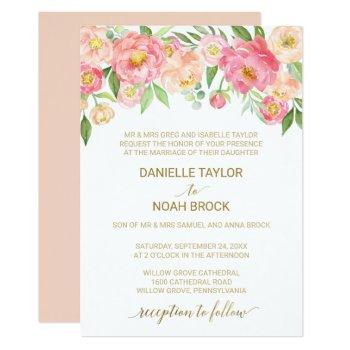 peach and pink peony flowers formal wedding invitation