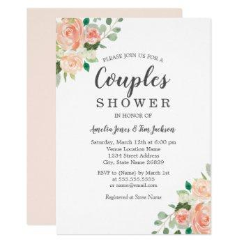 peach blush watercolor floral couples shower invitation