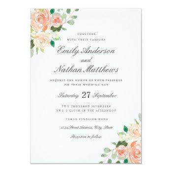peach blush watercolor floral wedding invitation