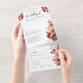 peach, burgundy blush floral wedding tear off rsvp all in one invitation