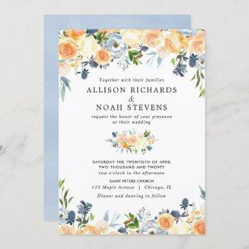 peach coral and blue floral watercolor wedding invitation
