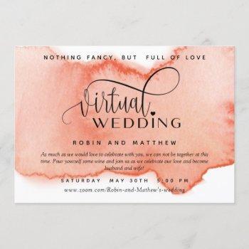 peach coral watercolor,  online virtual wedding invitation