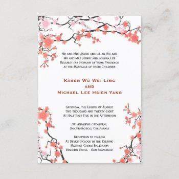 peach red & pink cherry blossoms oriental wedding invitation