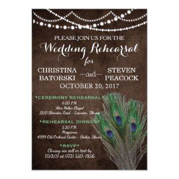 peacock boho country wood rustic wedding invitation