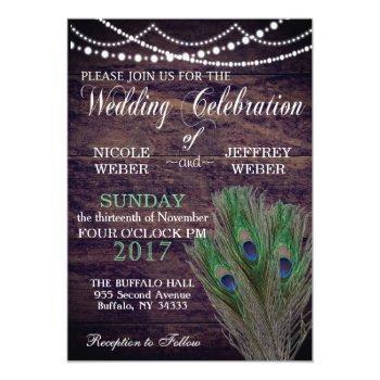 peacock boho country wood wedding invitation