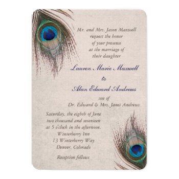 peacock feather border wedding invitation