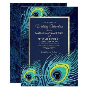 peacock feather design custom wedding invitations