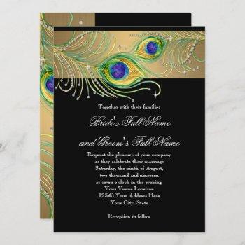peacock feathers gold n black modern jewel swirl invitation