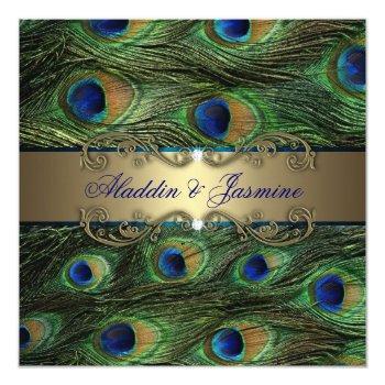 peacock indian wedding invitation