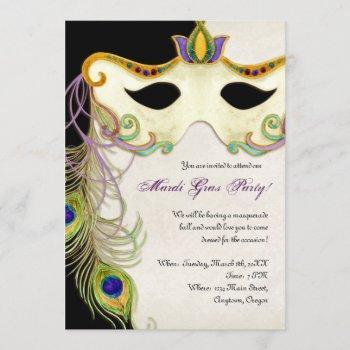 peacock masquerade mask ball - mardi gras party invitation