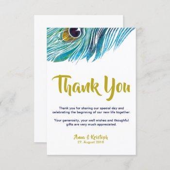 peacock thank you card