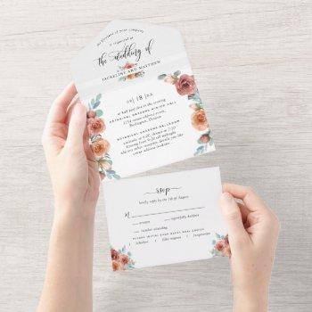 photo, blissful floral wedding w/ perforated rsvp all in one invitation