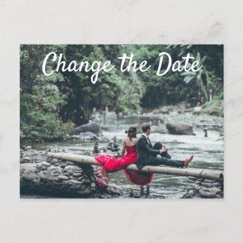 photo change the date  wedding postponed cancelled invitation postcard