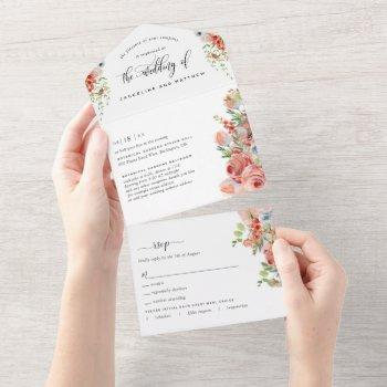 photo, coral peach and cream floral wedding, rsvp all in one invitation