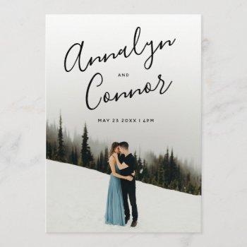 photo modern script | simple clean wedding invitation