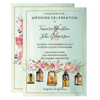 photo rose gold lanterns watercolor floral wedding invitation