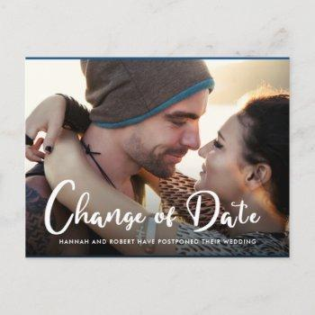 photo wedding postponement change of date announcement postcard