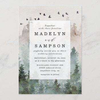 pine tree forest rustic watercolor themed wedding invitation