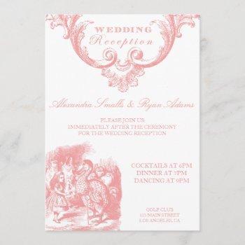 pink alice in wonderland wedding reception card