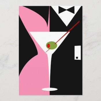 pink and black classy martini cocktail invitation