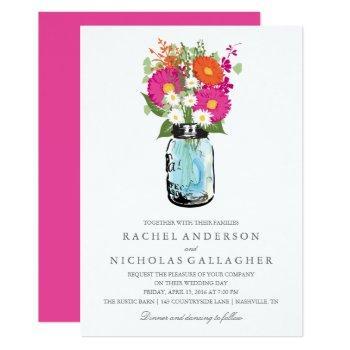 pink and orange gerber daisies mason jar wedding invitation