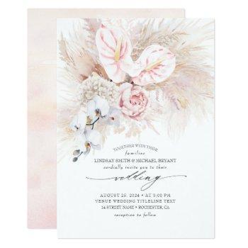 pink anthurium orchids and pampas grass wedding invitation