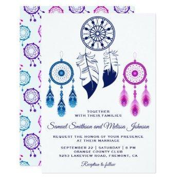 pink blue dream catcher wedding invitation