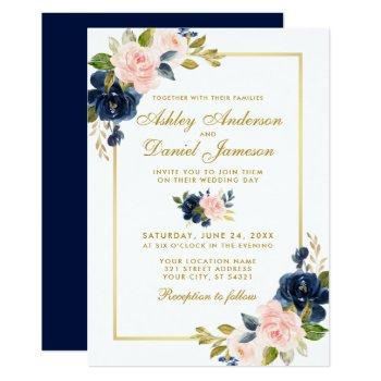 pink blush blue floral elegant gold wedding invitation