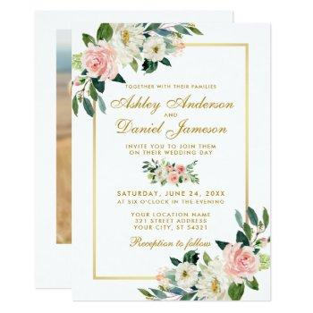 pink blush white floral gold wedding photo back invitation