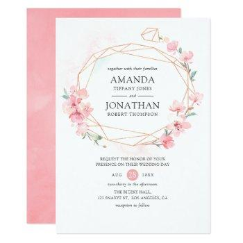 pink cherry blossom geometric spring wedding invitation