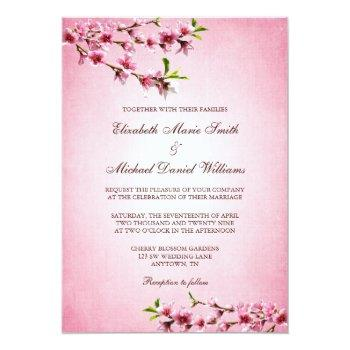 pink cherry blossoms vintage wedding invitation