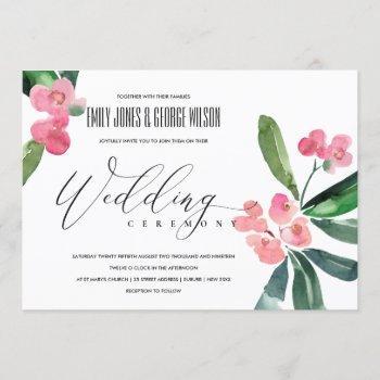 pink christ thorn cacti bloom watercolor wedding invitation