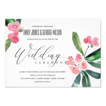 pink christ thorn cacti bloom watercolor wedding invitation