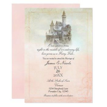 pink dreamy fairy tale storybook castle wedding invitation