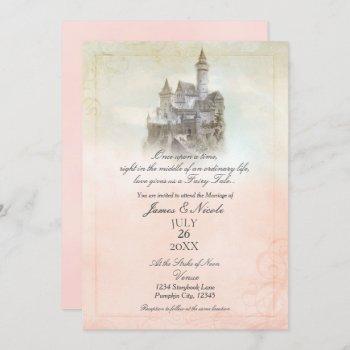 pink dreamy fairy tale storybook castle wedding invitation