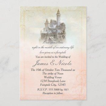 pink fairy tale storybook castle wedding invitation