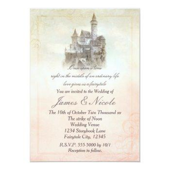 pink fairy tale storybook castle wedding invitation