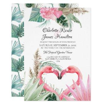 pink flamingo love heart tropical floral wedding invitation