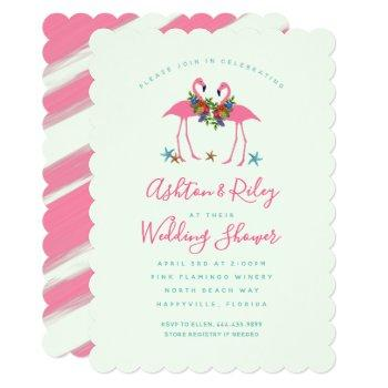 pink flamingos couples wedding shower invitation