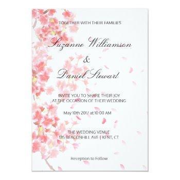 pink floral cherry blossom wedding invitation