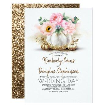 pink floral gold and white pumpkin fall wedding invitation