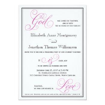 pink god is love christian wedding invitation