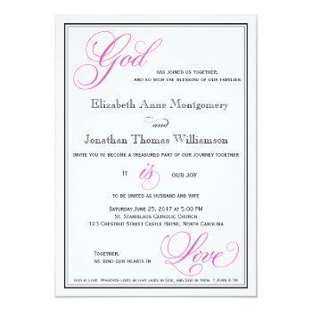 pink god is love christian wedding invitations