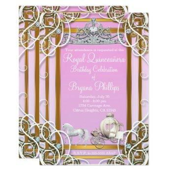 pink gold princess crown & carriage quinceañera invitation