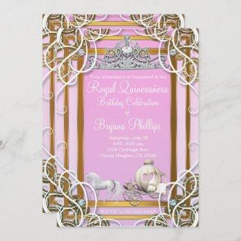 pink gold princess crown & carriage quinceañera invitation