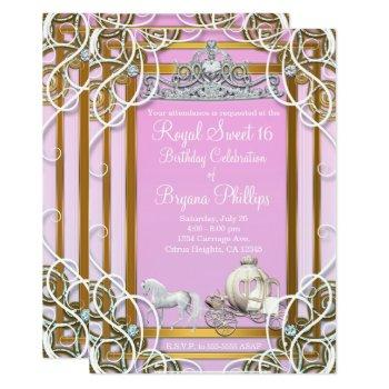 pink gold princess crown & carriage sweet 16 party invitation
