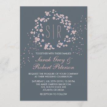 pink gray cherry blossom floral wedding invitation