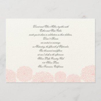 pink grey wedding invitation