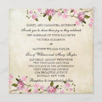 pink japanese cherry blossoms wedding invitation
