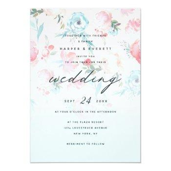 Small Pink Ombre French Garden Shabby Floral Wedding Invitation Front View